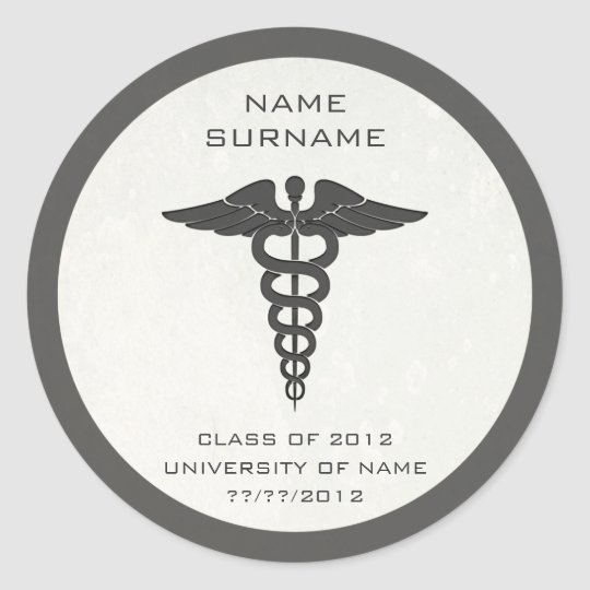 Medical School Graduation Stickers/Envelope Seals Classic Round Sticker