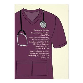 Medical Scrubs Burgundy Graduation Invitation