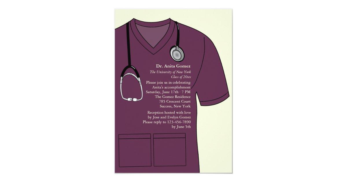 462097c86e6 Medical Scrubs Burgundy Graduation Invitation