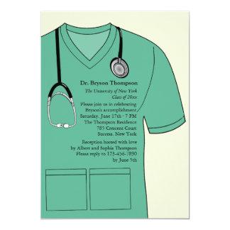 Medical Scrubs Green Graduation Invitation