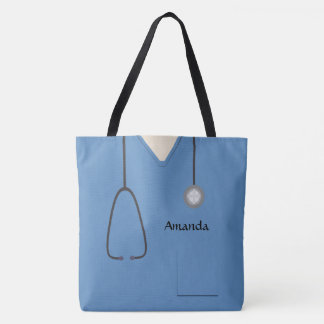Medical Scrubs Nurse Blue AOPM Tote Bag