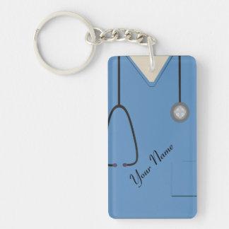 Medical Scrubs Nurse Doctor Blue Custom Acrylic Single-Sided Rectangular Acrylic Keychain