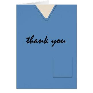 Medical Scrubs Nurse Doctor Blue Custom Thank You Card
