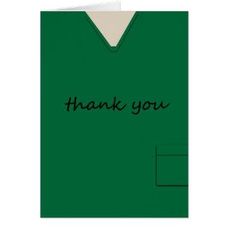Medical Scrubs Nurse Doctor Dark Green Thank You Card