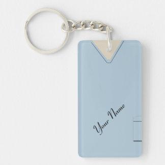 Medical Scrubs Nurse Doctor Light Blue Acrylic Single-Sided Rectangular Acrylic Keychain