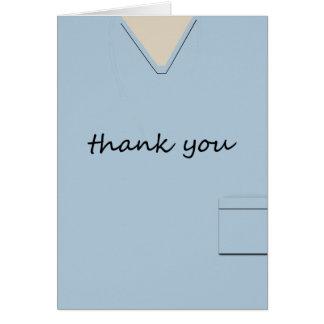 Medical Scrubs Nurse Doctor Light Blue Thank You Card