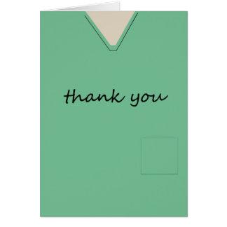 Medical Scrubs Nurse Doctor Light Green Thank You Card