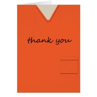 Medical Scrubs Nurse Doctor Orange Thank You Card