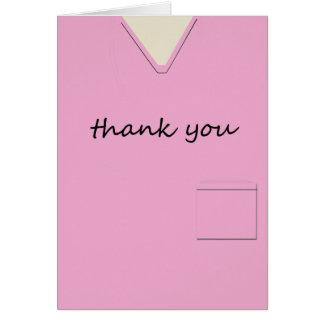 Medical Scrubs Nurse Pink Custom Thank You Card