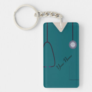 Medical Scrubs Nurse Teal Custom Acrylic Keychain