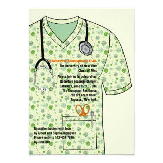 Medical Scrubs Pattern Graduation Invitation