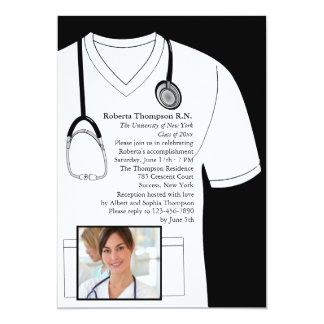 Medical Scrubs White Photo Graduation Invitation