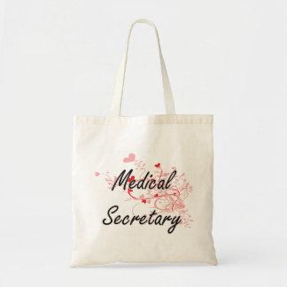 Medical Secretary Artistic Job Design with Hearts Tote Bag