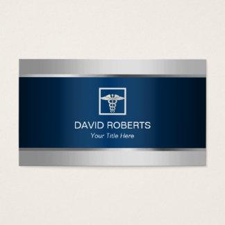 Medical Silver Border Elegant Navy Blue Metallic Business Card