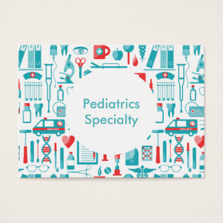 Medical specialty in Teal and Red Business Card