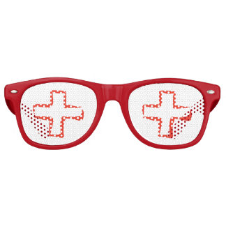 Medical Staff Red Cross Symbol Retro Sunglasses