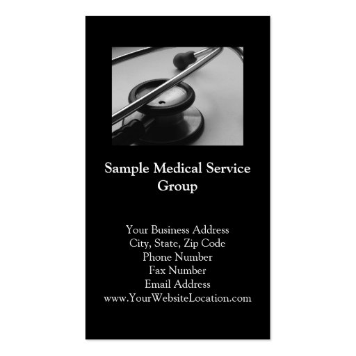 Medical Stethoscope, Black and White Business Card Templates