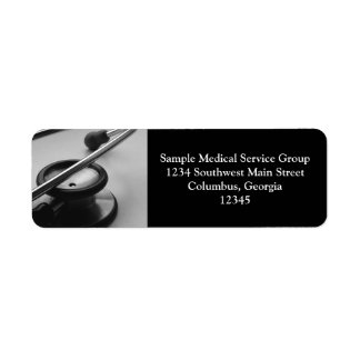 Medical Stethoscope, Black and White Return Address Label