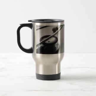 Medical Stethoscope, Black and White Travel Mug