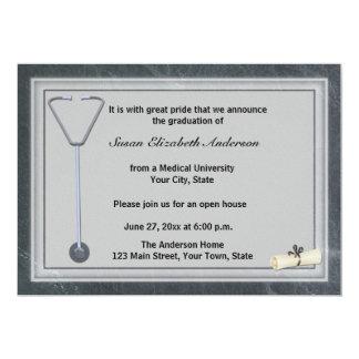 Medical Stethoscope Gray Graduation Invitation