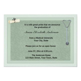 Medical Stethoscope Green Graduation Invitation