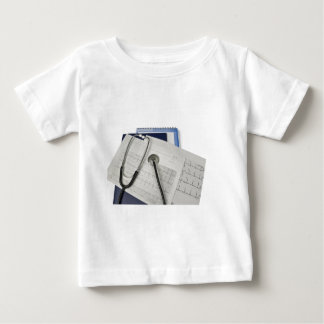 medical stethoscope on cardiogram EKG readings Baby T-Shirt