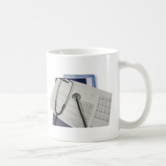 medical stethoscope on cardiogram EKG readings Coffee Mug