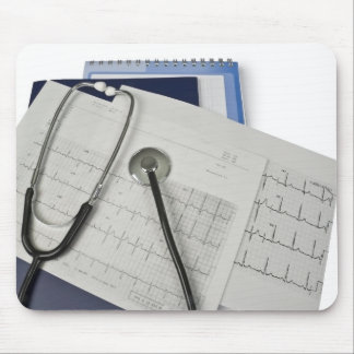 medical stethoscope on cardiogram EKG readings Mouse Pad
