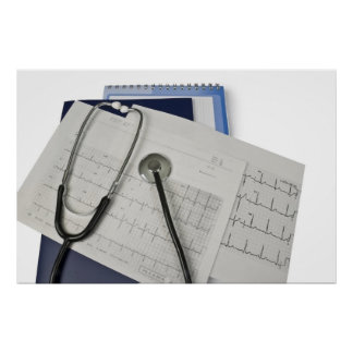 medical stethoscope on cardiogram EKG readings Poster
