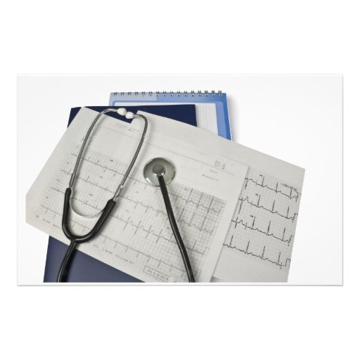 medical stethoscope on cardiogram EKG readings Stationery Design