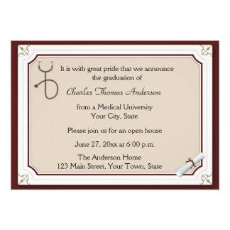 Medical Stethoscope Tan Graduation Invitation