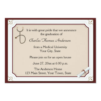 Medical Stethoscope Tan Graduation Invitation