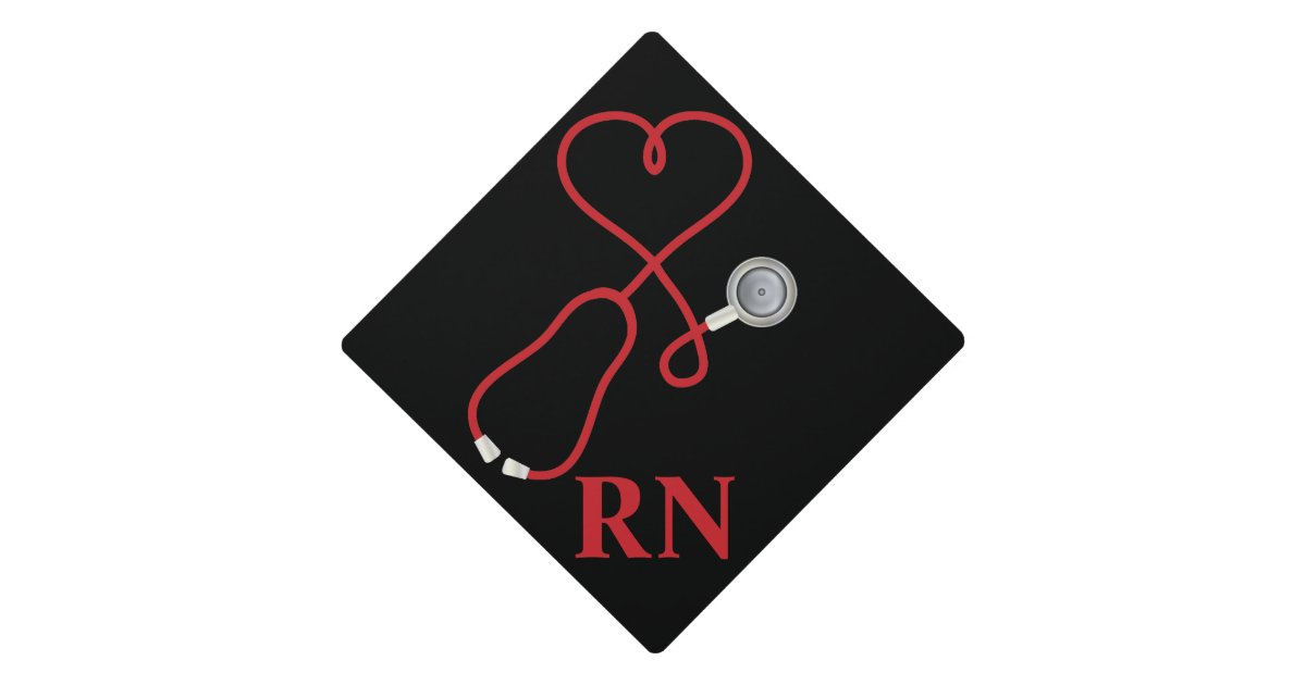 Medical Stethoscope With Heart Graduation Cap Topper