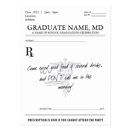 Medical Student Graduation Prescription Pad Invite Postcard