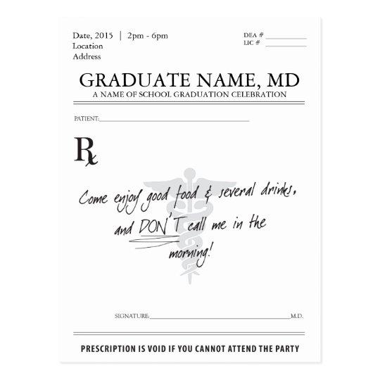 medical student graduation prescription pad invite