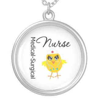 Medical-Surgical Nurse Chick v1 Round Pendant Necklace