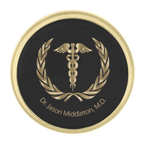 Medical Symbol - Black and Gold Gold Finish Lapel Pin
