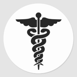 Medical Symbol Caduceus Classic Round Sticker