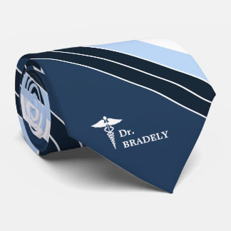 Medical Symbol Custom Name Navy Blue Striped Tie