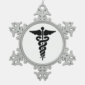 Medical Symbol Snowflake Pewter Christmas Ornament