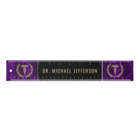Medical Symbol - Purple Marble, Black and Gold Ruler