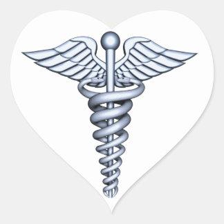 Medical Symbol Silver Heart Sticker