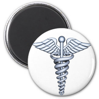 Medical Symbol Silver 2 Inch Round Magnet