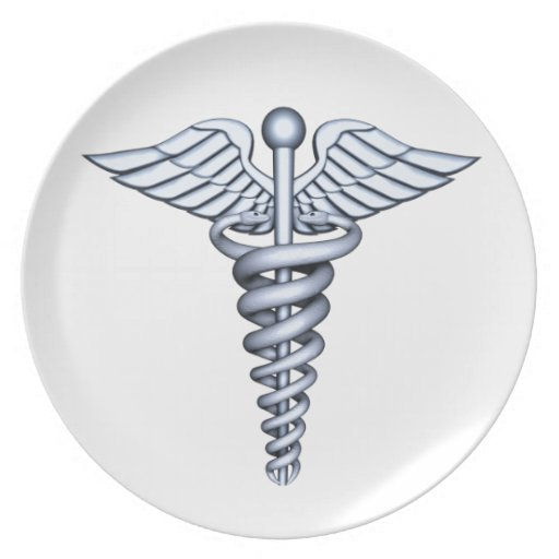 Medical Symbol Silver Party Plates