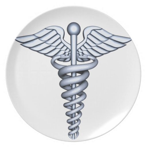 Medical Symbol Silver Dinner Plates