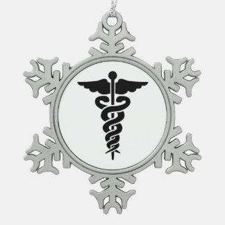 Medical Symbol Snowflake Pewter Christmas Ornament