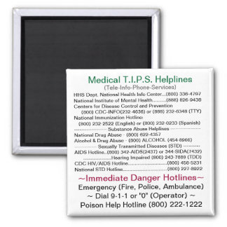 Medical T.I.P.S. Helplines 2 Inch Square Magnet