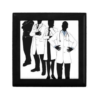 Medical team silhouettes trinket box