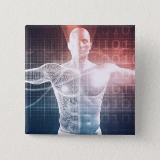 Medical Technology Software as a Background Art Pinback Button