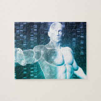 Medical Technology with Scientist Engineer on DNA Jigsaw Puzzle